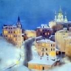 winter city lady